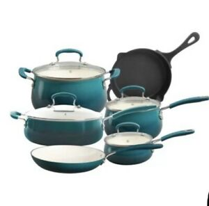 NEW The Pioneer Woman Classic Belly 10-Piece Cookware Cast Iron Set Ocean Teal