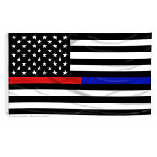 Thin Blue Line and Thin Red Line Dual American Flag - 3 x 5 ft with Grommets