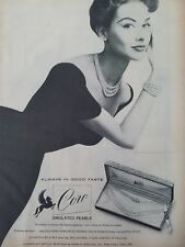 1954 women's CORO simulated pearl necklace bracelet earrings vintage jewelry ad