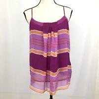 Ny & Co Women's Size L Tank Top Purple Orange Stripes New York Company Lining