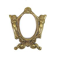 "Vintage Art Deco Nouveau Cast Brass Nude Woman Picture Frame Fits 3.5"" x 2.5"""