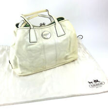 Coach Signature Patent Leather Cream White Purse Kisslock Purse Handbag F15658