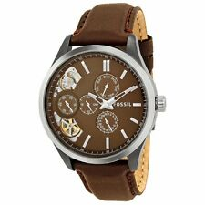 Fossil Dress Twist GMT Brown Dial Brown Leather Mens Watch ME1123