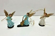 Set of 3 Vintage Christmas Plastic Angels Playing Musical Instruments Plastic