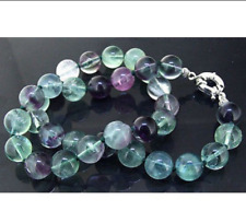 """Charm 8mm Round Natural Rainbow Fluorite Necklace 18"""" Knotted Gemstone Crystal"""