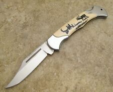 Big Game Scrimshaw Style Handle Lockback Folding Hunting Knife