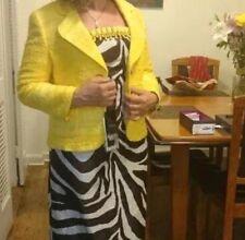 Nwt $1950 Escada Eu 40 Usa M tweed bright yellow jacket sleeve with-zipper