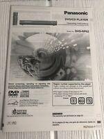 Panasonic DVD/CD PLAYER OPERATING INSTRUCTIONS MANUAL DVD-RP62