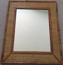 Vintage Boho Style Small Natural Cane & Rattan Framed Wall Mirror 36 x 30 cm VGC