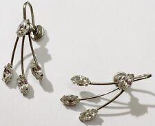 boucles d'oreilles vis bijou vintage cristaux diamant couleur argent * 3604