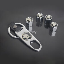 Chromed Metal Car Tire Wheel Valve Stems Caps + keychain For Skoda Model