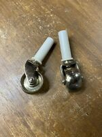 1 Pair Fancy Brass Front Casters/Wheels for Spinet/Console Vertical Piano