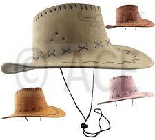 Mens Womens Faux Suede Stetson Hats Wide Brim Rodeo Western Cowboy Hat