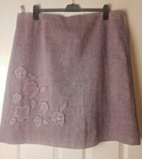 TU Ladies Brown Floral Beaded Design A Line Flared Fully Lined Skirt Size UK 20