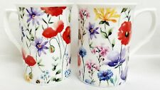 Wildflowers Meadow Mugs Set 2 Fine Bone China Castle Floral 105oz Cups Decor UK