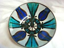 Signed SWISS MADE HAN WORK Pottery Bowl - Gray / Turquoise / Cobalt