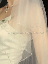 2T Ivory Bridal Fingertip Length Silver Beaded Edge Wedding Veil