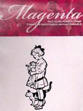 New Cling MAGENTA RUBBER STAMP  Vintage little girl & cat  small Free usa ship