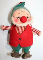 "Vintage Fun Farm Felt Christmas Elf Plump Dwarf Santa's Helper Japan Figure 7"""