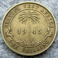 BRITISH WEST AFRICA GEORGE VI 1945 ONE SHILLING, PALM TREE