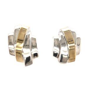 TIFFANY & Co. EARRINGS 2-Tone Cross Over - Designer Estate Jewelry