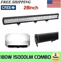 "28""Inch 180W Led Work Light Bar Combo Offroad Driving 4WD Truck Boat 30""/32"" ATV"