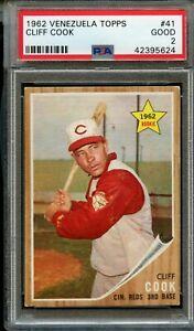 1962 Venezuela Topps Baseball Card #41 Cliff Cook Reds PSA 2 Graded Good