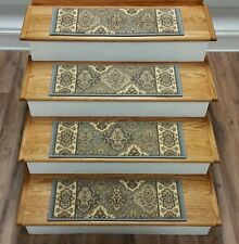 "Rug Depot Set of 16 Traditional Non Slip Carpet Stair Treads 26"" x 9"" Light Blue"
