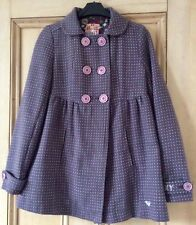 Ladies Purple Polka dot ROXY jacket Double breasted Lined Wooden Buttons  XS