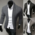 Stylish Mens Slim Fit Knit V-Neck Cardigan Long Sweater Coat Jacket Fashion Tops