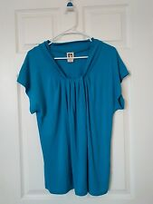 Anne Klein Women's Aqua Short Sleeve Shirt Size XL