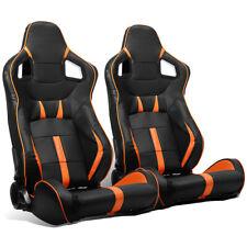 2 X Universal Jdm Blackorange Strip Pvc Leather Leftright Racing Seats Sliders