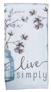 LIVE SIMPLE Cotton Bolls in Jar, Butterlies Terry Kitchen Towel