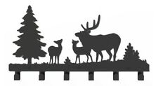 Black Metal Deer Elk Trees Coat Rack Wall Mount Hanger Hooks Hat Cap Scarf Robe
