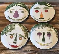Set of 4 Villa Vanilla Anthropomorphic Vegetable Face Plates Tastesetter