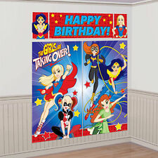 DC SUPER HERO GIRLS WALL BANNER DECORATING KIT (5pc) Birthday Party Supplies'
