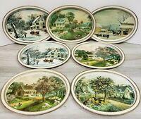 The American Homestead Metal Trays/Platter - Currier & Ives - 1868 Seasons - Lot