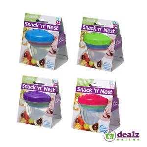 Sistema Snack 'n' Nest To Go School Lunch Food Snacks Yogurt Dips Pot 3 Pack