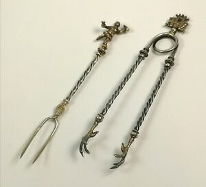 Vintage Pickle Fork And Tong Set Decorative Collectable Sugar Tongs