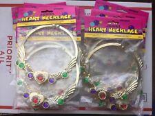 Lot Of 16 Unique Plastic Jewel Heart Necklaces Party Favors Princess