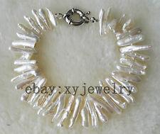 charming cultured white biwa Baroque fresh water pearl wedding bracelet 8 inch