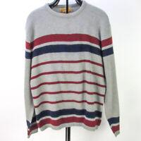 Vintage 60s Jantzen Expandables Sweater Mens L Gray Bold Stripe Crew Pullover