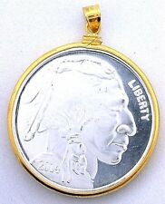 INDIAN BUFFALO TYPE.999 PURE SILVER ONE OUNCE 14K GOLD FILLED PENDANT EBS1450