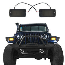 Hooke Road Turn Signals w/Amber LEDs For Jeep Wrangler TJ 1997-2006 ABS 12V 2Pcs