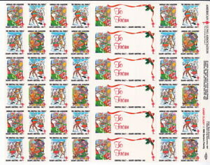 Stamp FULL SHEET  OF 42 US Christmas Seals 1988 Greetings  (A212)