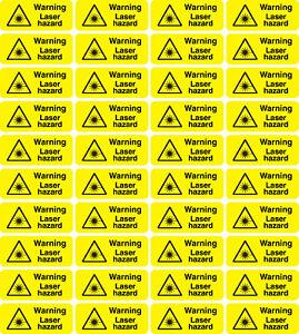40 X Warning Laser Hazard stickers 50mm X 20mm