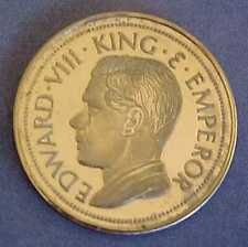 SCARCE 1936 KING EDWARD VIII 9KT PROOF-LIKE 20MM GOLD SOUVENIR MEDAL