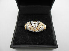 Nice European Shank Estate 14k Solid Gold Heavy Diamond Cocktail Band Ring