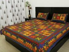Indian Rajasthani Traditional Embroidered Print Cotton Bed Sheet 2 Pillow Covers