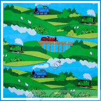 BonEful Fabric FQ Cotton Quilt Thomas Tank Engine Scenic Railroad TRAIN Track Sm